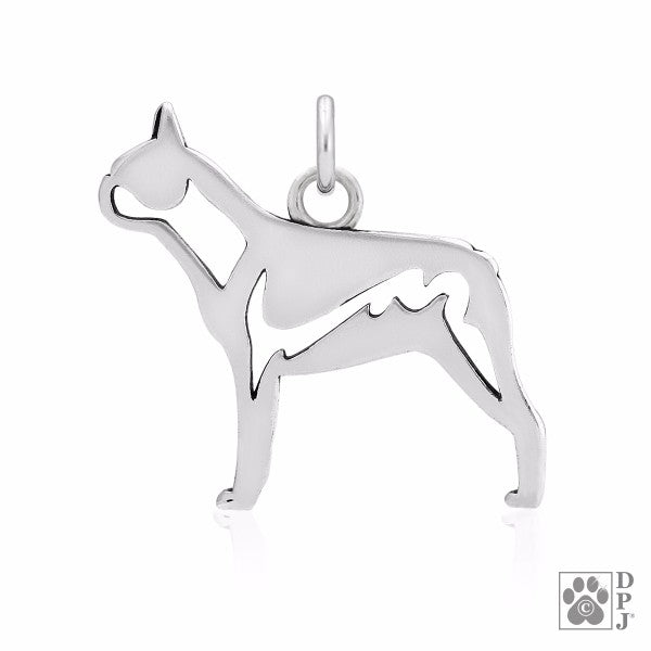 Boston Terrier Charm .925 Sterling Silver Pendant - Body