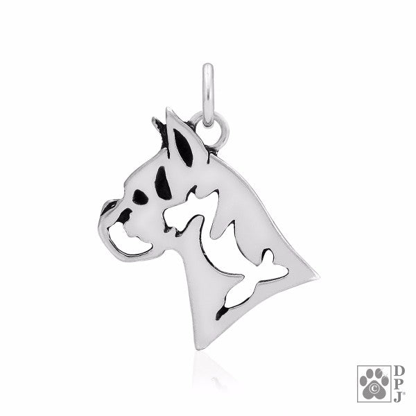 Boxer Cropped Ears Charm .925 Sterling Silver Pendant - Head