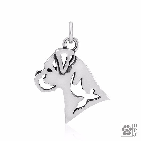 Boxer Natural Ears Charm .925 Sterling Silver Pendant - Head
