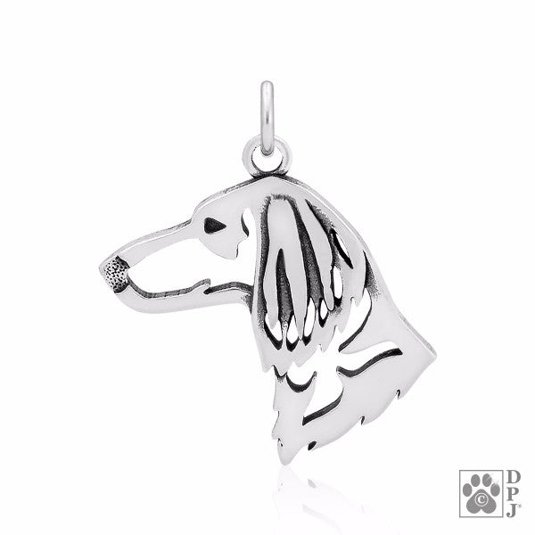 Dachshund Longhaired Charm .925 Sterling Silver Pendant - Head