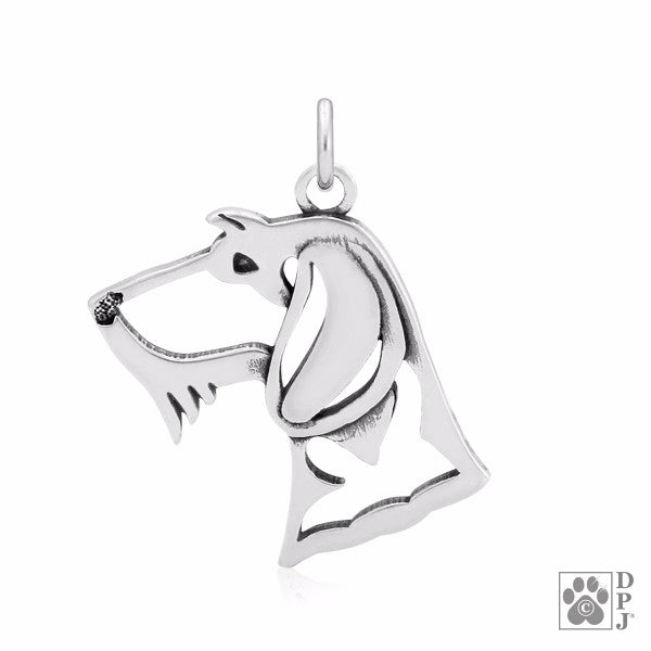 Dachshund Wirehaired Charm .925 Sterling Silver Pendant - Head