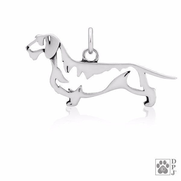 Dachshund Wirehaired Charm .925 Sterling Silver Pendant - Body