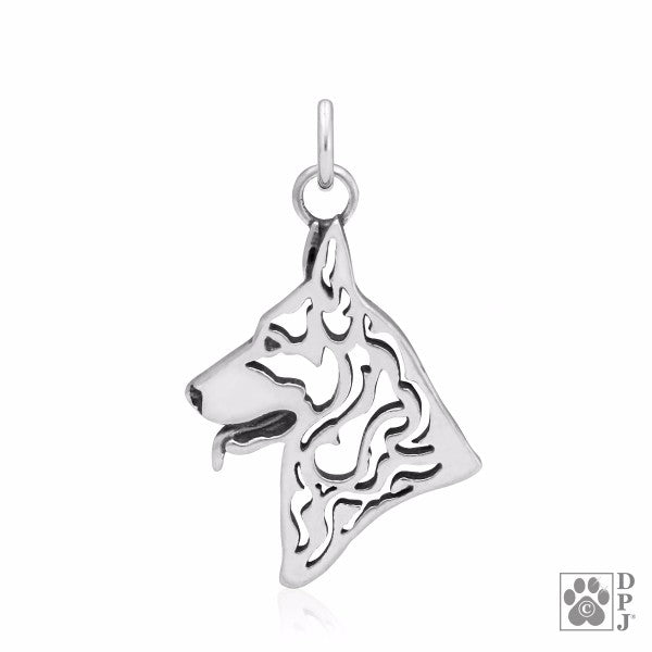 German Shepherd Charm .925 Sterling Silver Pendant - Head