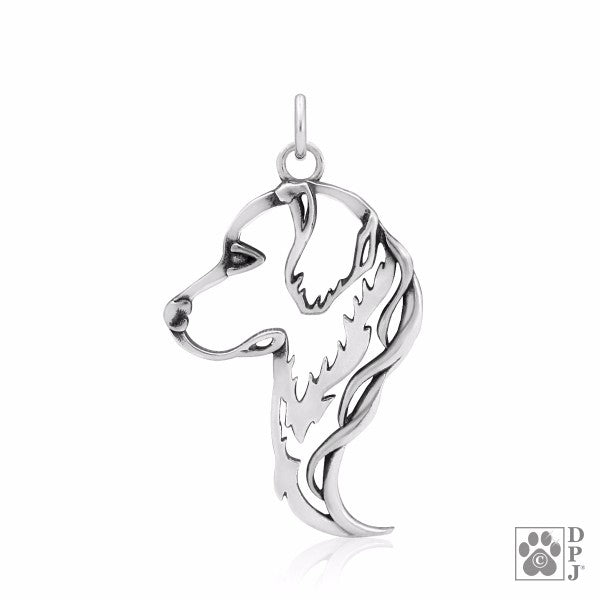 Golden Retriever Charm .925 Sterling Silver Pendant - Head