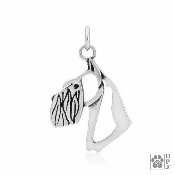 Schnauzer Charm Cropped Ears .925 Sterling Silver Pendant - Head