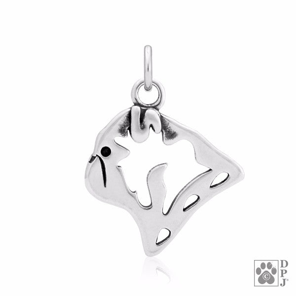 Pug Charm .925 Sterling Silver Pendant - Head
