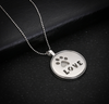Circular Glow In The Dark Paw Print Love Necklace