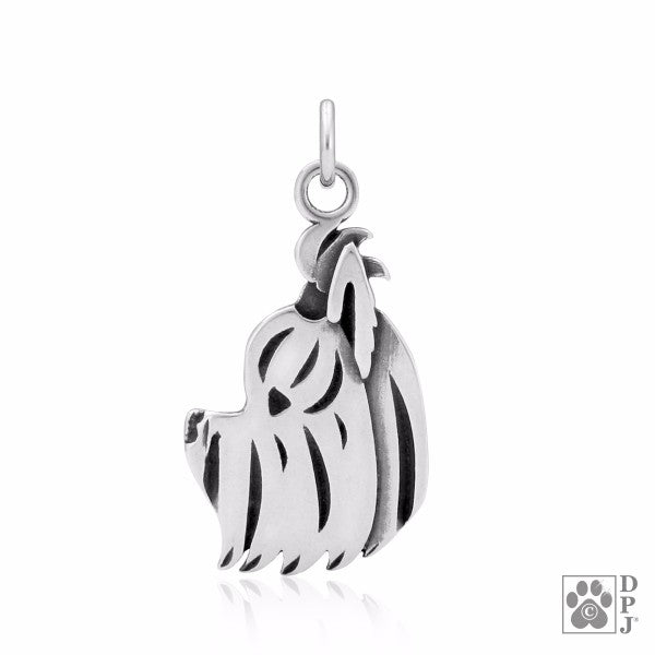 Yorkshire Terrier Charm .925 Sterling Silver Pendant - Head
