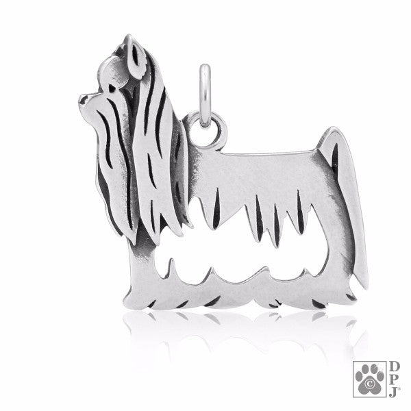 Showcut Yorkshire Terrier Charm .925 Sterling Silver Pendant - Body