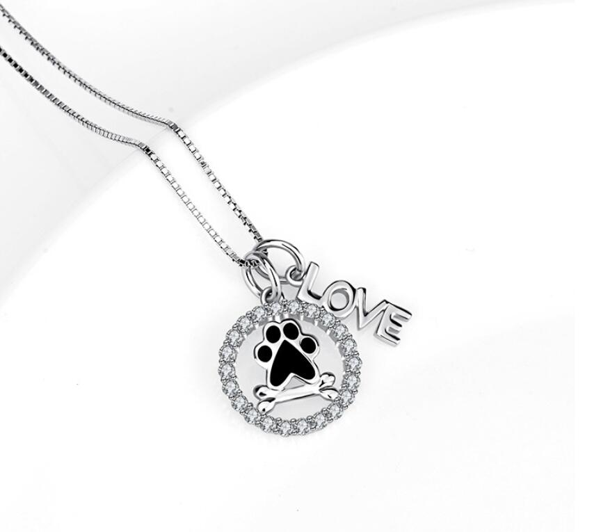 Paw, Bone and Love Necklace
