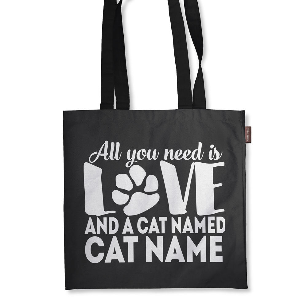 "Personalized All You Need is Love and a Cat Named Tote Bag - 18"" X 18"""