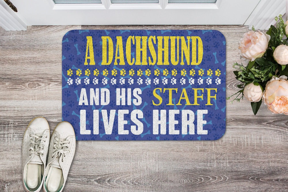 Personalized A Dog And His Staff - Door Mat