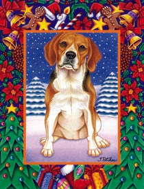 Beagle Tomoyo Pitcher Christmas Dog Flag