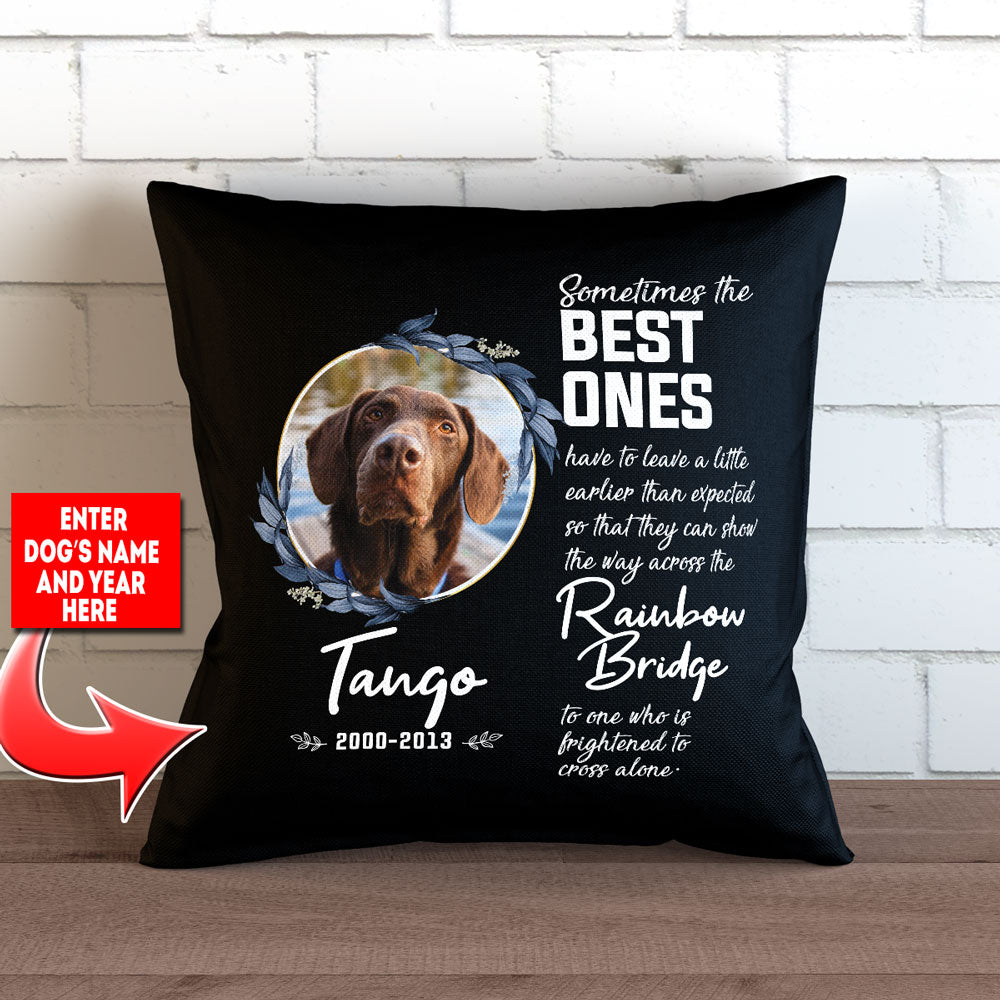 "Personalized Best Ones Leave a Little Early Photo Tribute - Throw Pillow Cover - 18"" X 18"""
