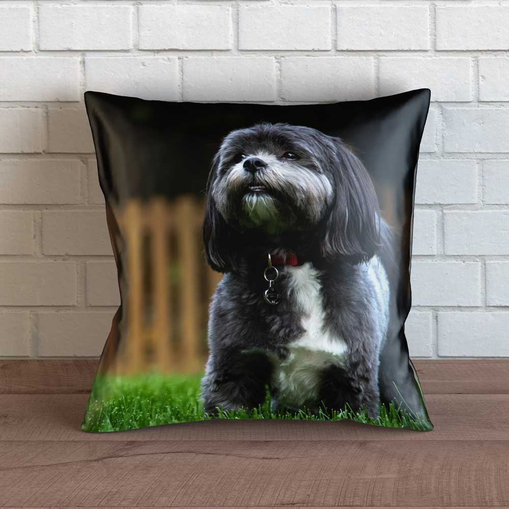 "Realistic Shih Tzu Throw Pillow Cover - 18"" x 18"""