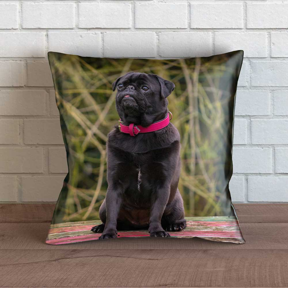 "Realistic Pug Throw Pillow Cover - 18"" x 18"""