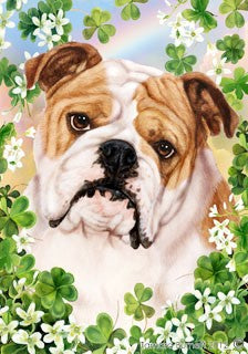 Bulldog St Patricks Day Flag