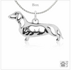 Sterling Silver Dachshund Pendant, w/Badger in Body