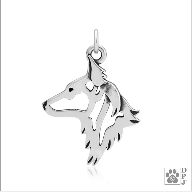 Sterling Silver Dutch Shepherd Pendant - Head