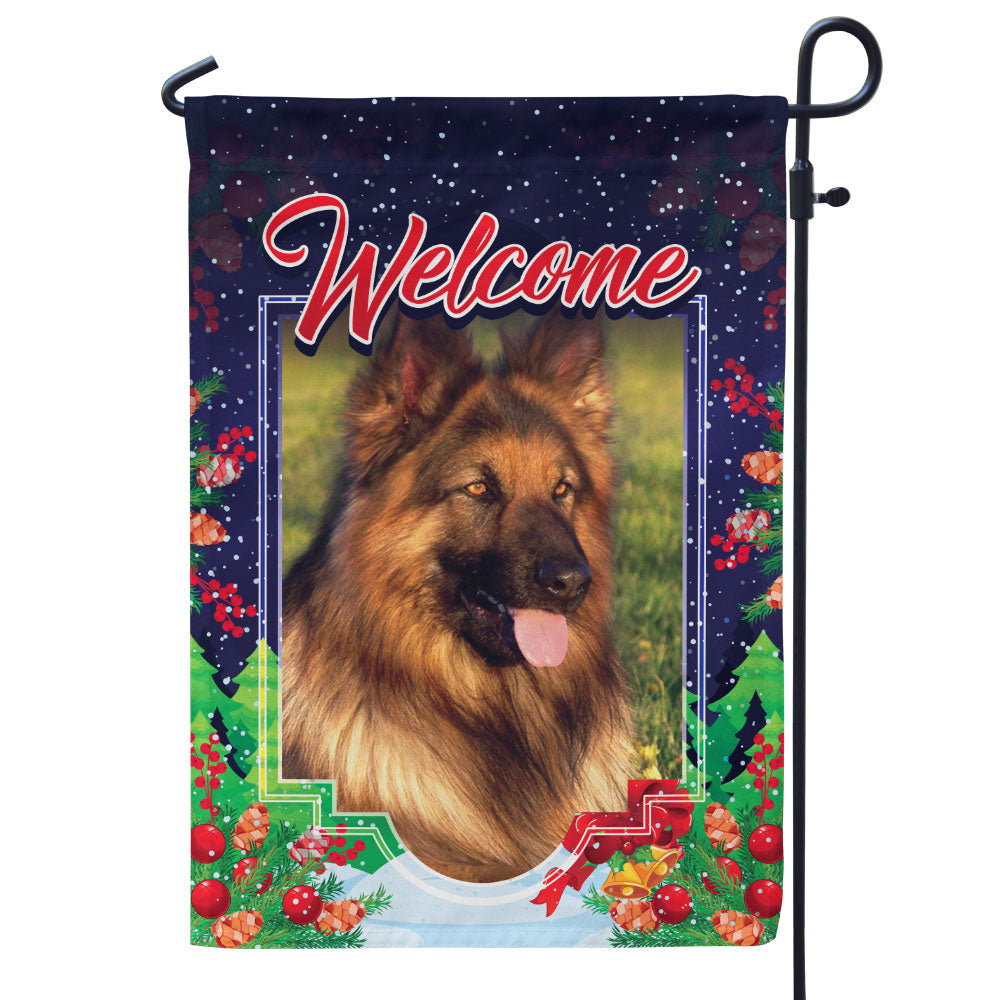 Personalized Christmas Themed Pet Photo Flag