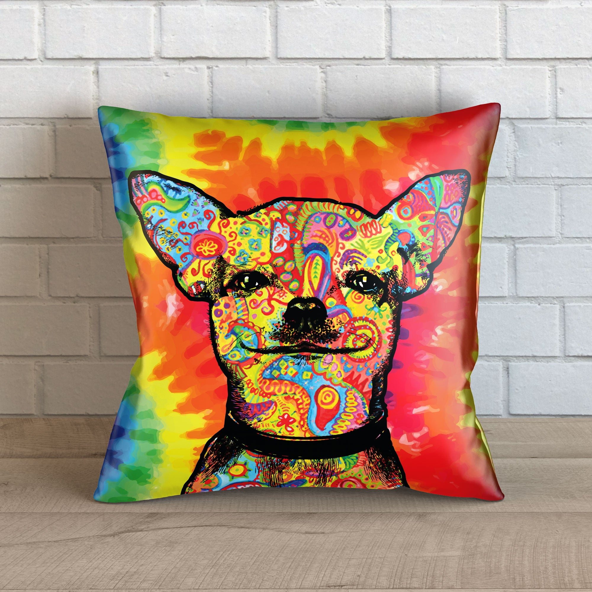 "Colorful Chihuahua Throw Pillow Cover - 18"" x 18"""