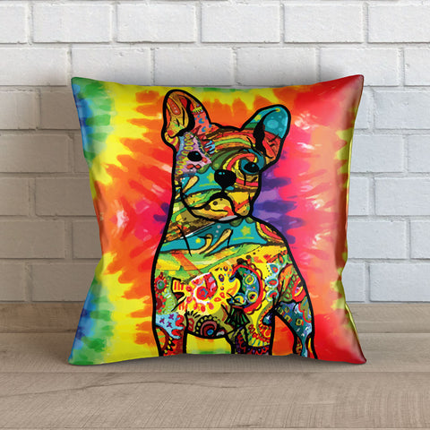 Colorful French Bulldog Throw Pillow Cover - 18