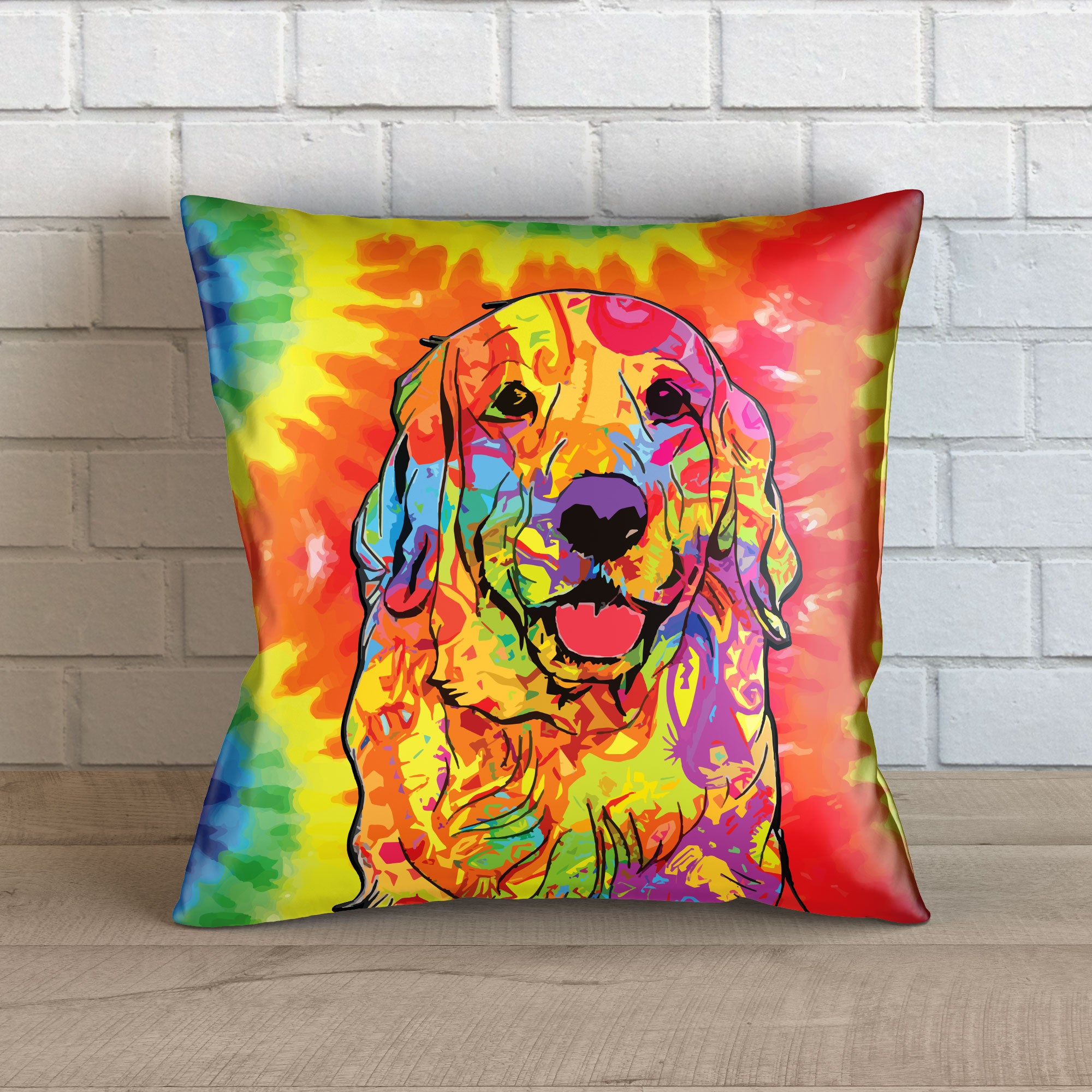 "Colorful Golden Retriever Throw Pillow Cover - 18"" x 18"""