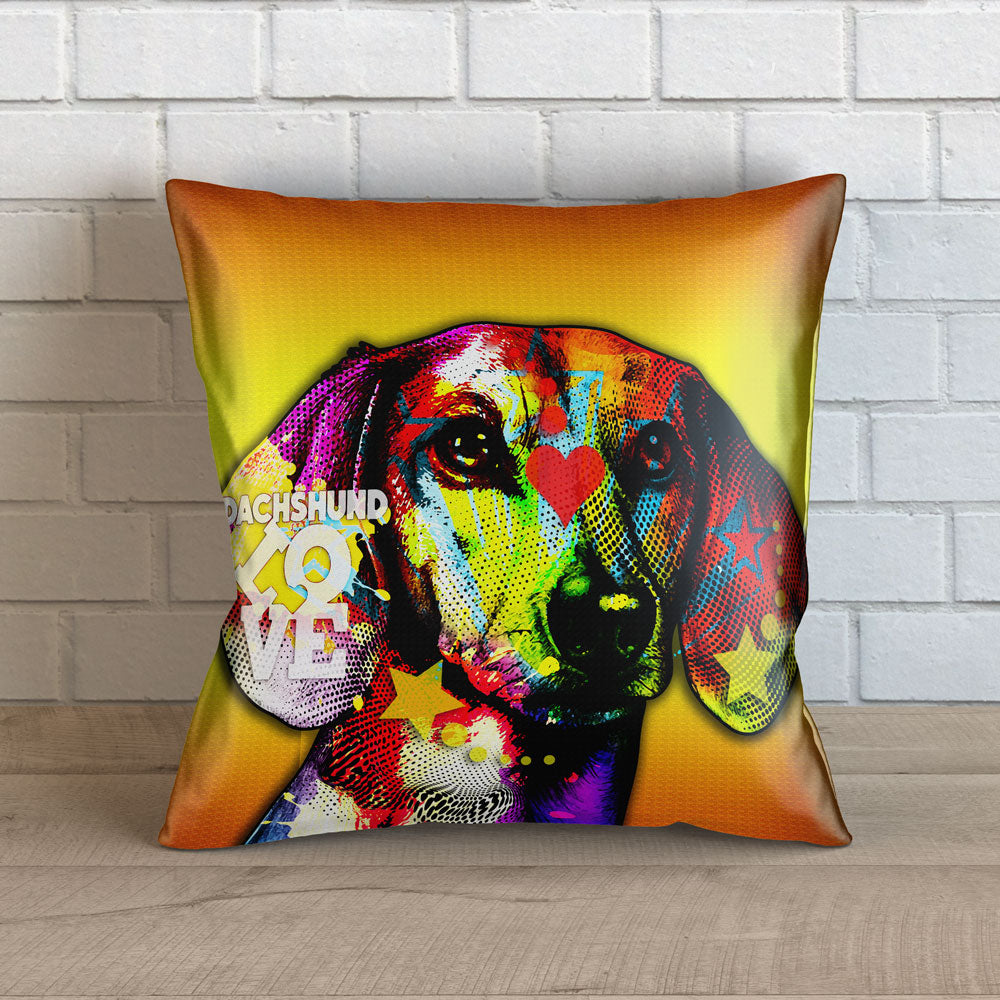 "Colorful Dachshund Throw Pillow Cover - 18"" x 18"""
