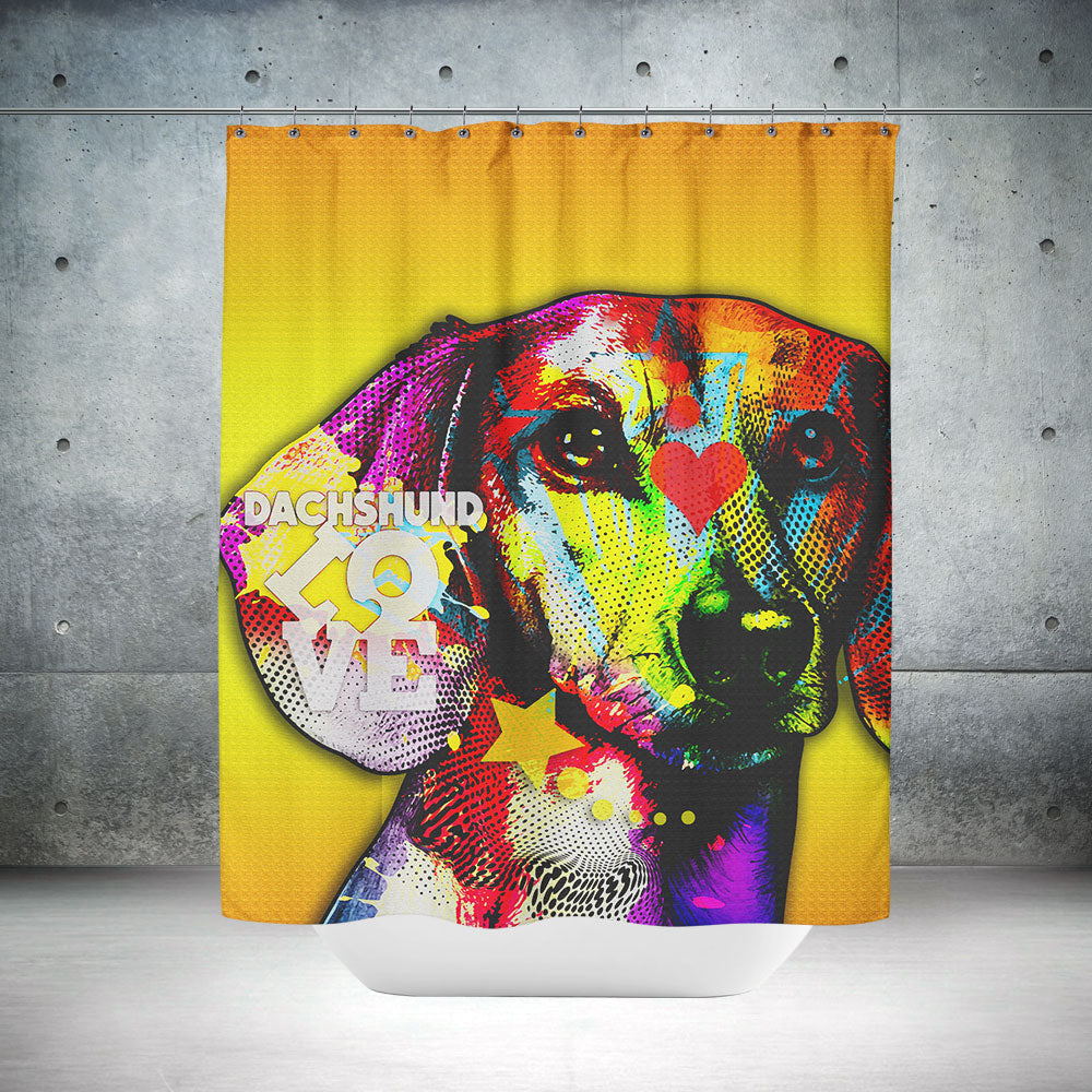 Colorful Dachshund Shower Curtain