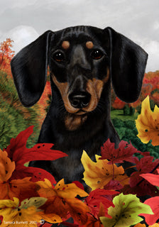 Dachshund Tamara Burnett Fall Flag