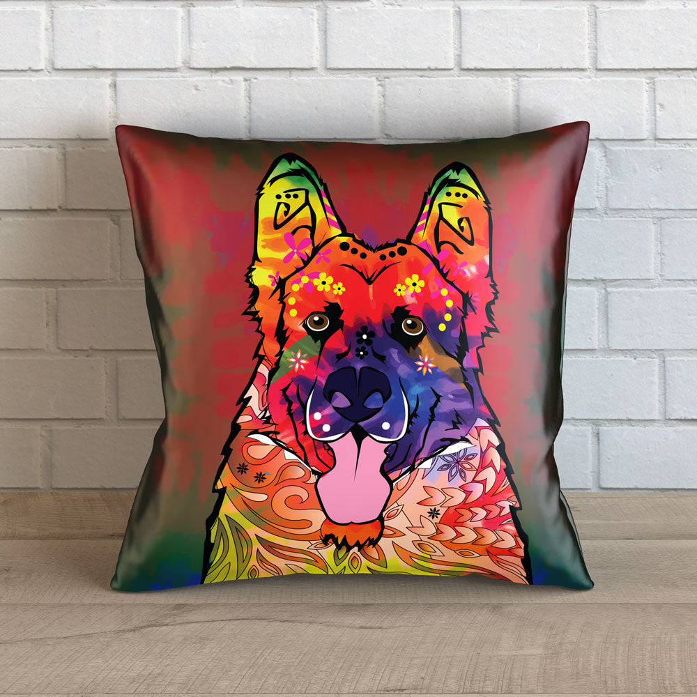 "Colorful German Shepherd Dog Throw Throw Pillow Cover - 18"" x 18"""