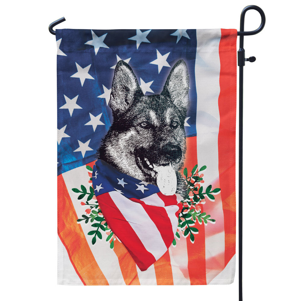 German Shepherd Patriotic Flag