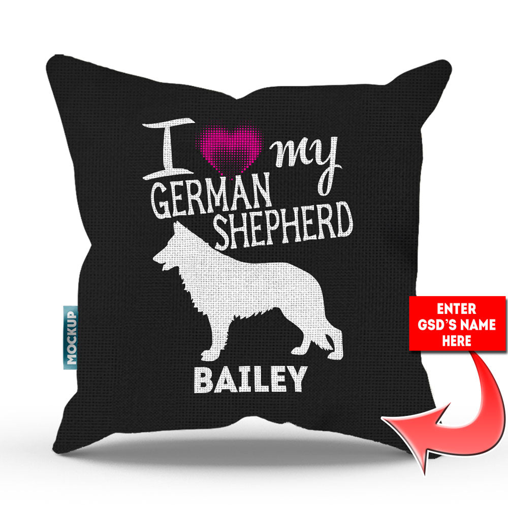"Personalized I Love My German Shepherd Throw Pillow Cover - 18"" x 18"""