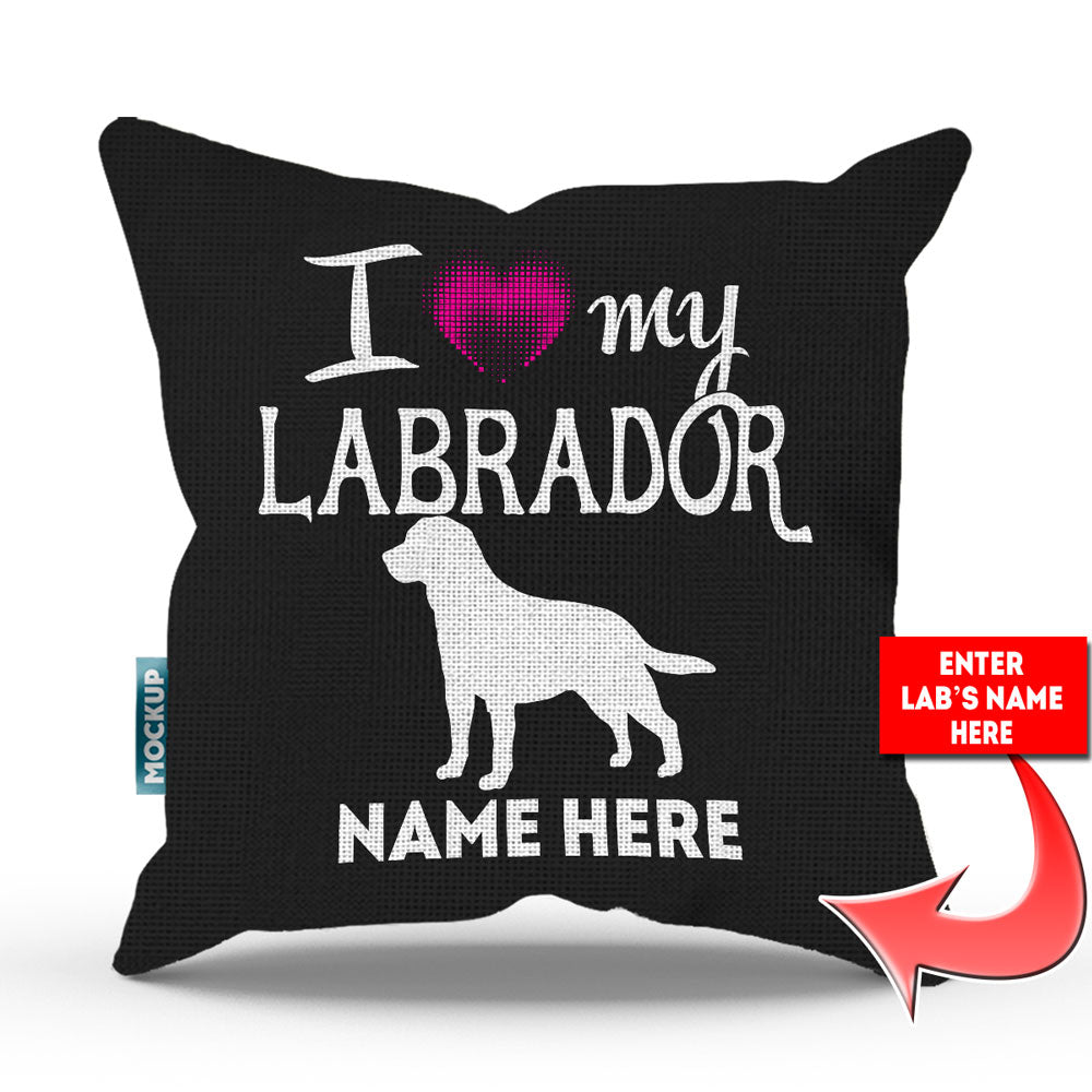 "Personalized I Love My Labrador Throw Pillow Cover - 18"" x 18"""