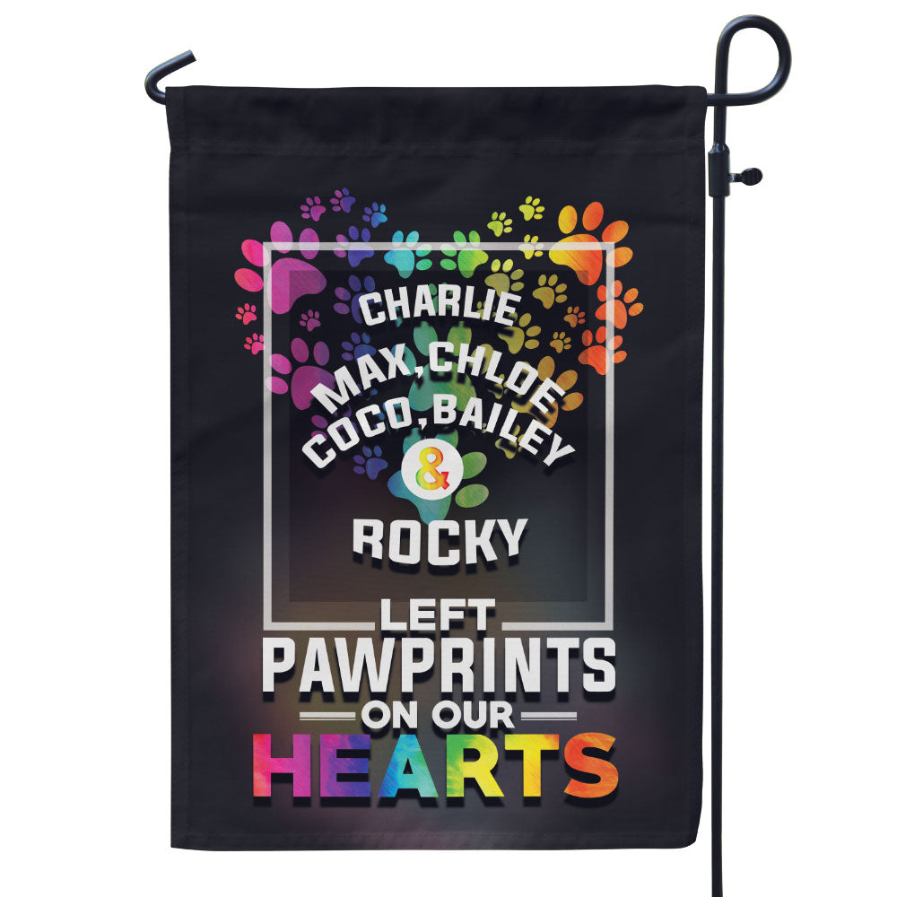 Personalized Left Pawprints on Our Heart Flag