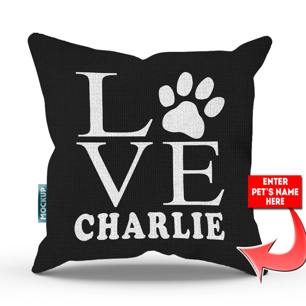 Magnificent Personalized Love Paw Print Throw Pillow Cover 18 X 18 Andrewgaddart Wooden Chair Designs For Living Room Andrewgaddartcom