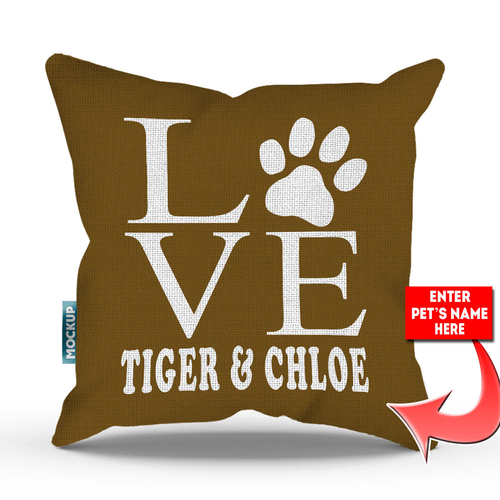 "Personalized Love Paw Print Throw Pillow Cover - 15"" X 15 ..."
