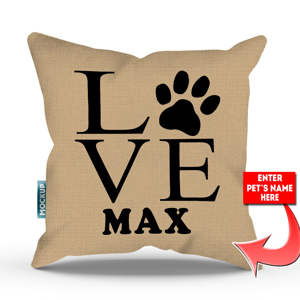 "Personalized  Love Paw Print Throw Pillow Cover - 18"" X 18"""