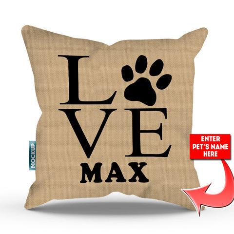 Personalized Love Paw Print Throw Pillow Cover - 18