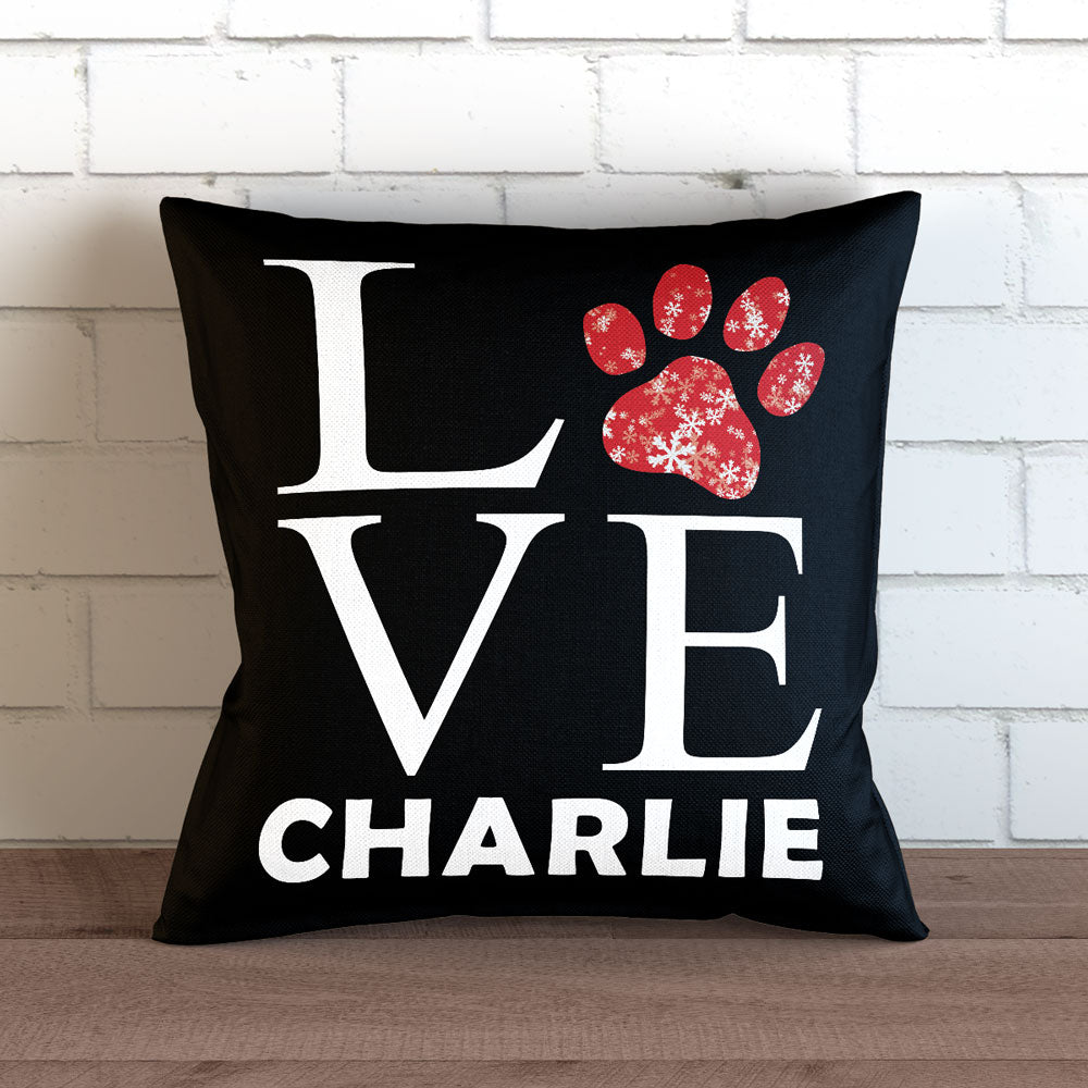 "Personalized Love Paw Print - Christmas Themed - Throw Pillow Cover - 18"" X 18"""