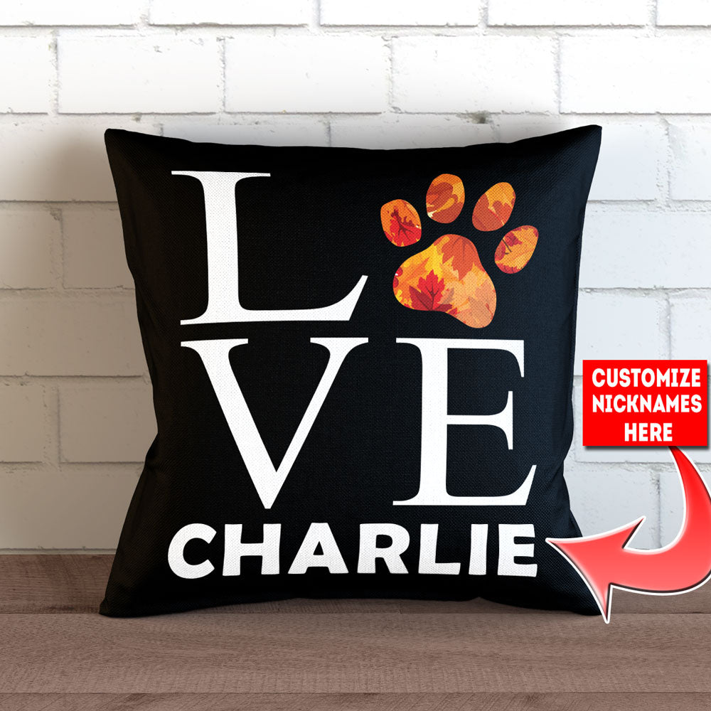 "Personalized Love Paw Print - Fall Themed - Throw Pillow Cover - 18"" X 18"""