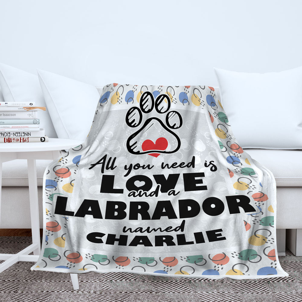Personalized All You Need is Love and a Dog Breed Named - Premium Berber Fleece Blanket
