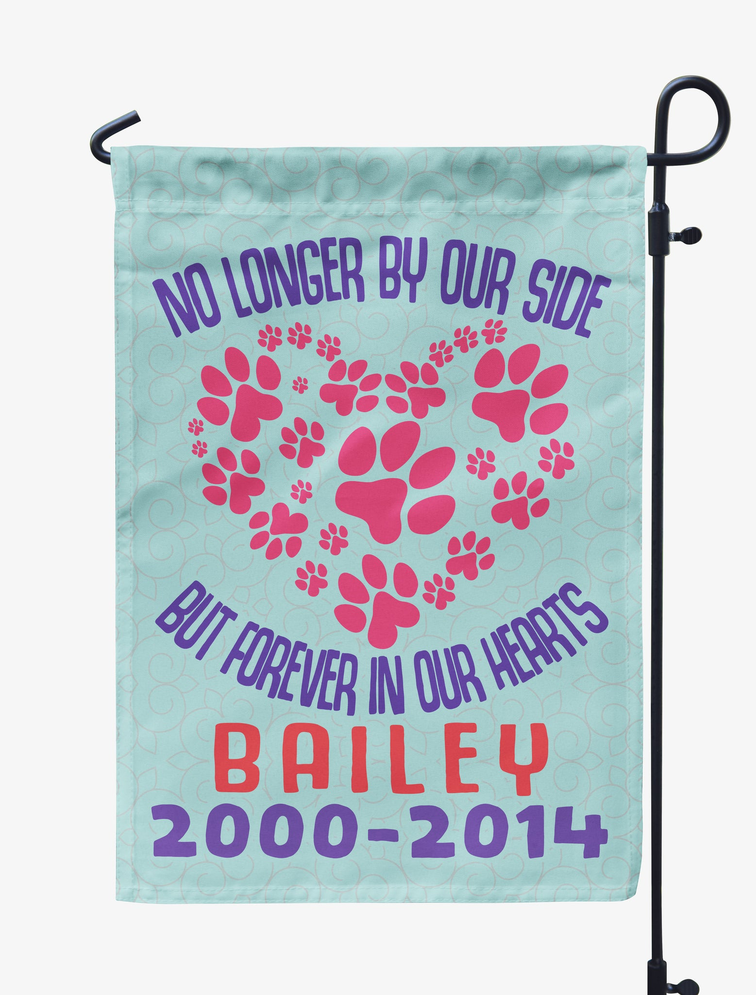 Personalized No Longer By our Side Pet Memorial Flag