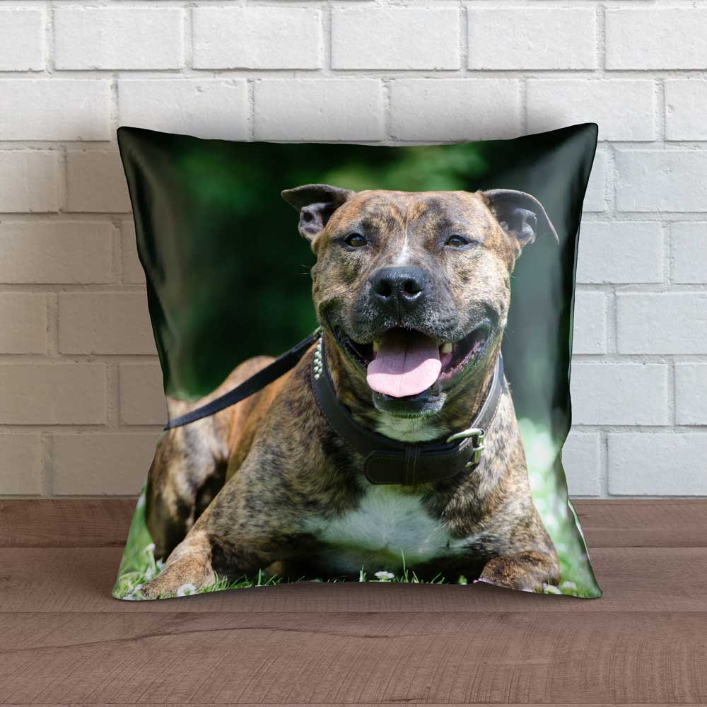 "Realistic Staffy Throw Pillow Cover - 18"" x 18"""