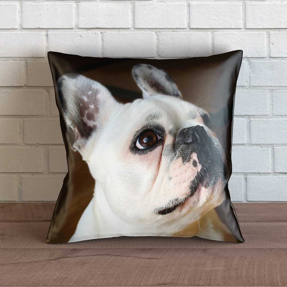 "Realistic French Bulldog Throw Pillow Cover - 18"" x 18"""