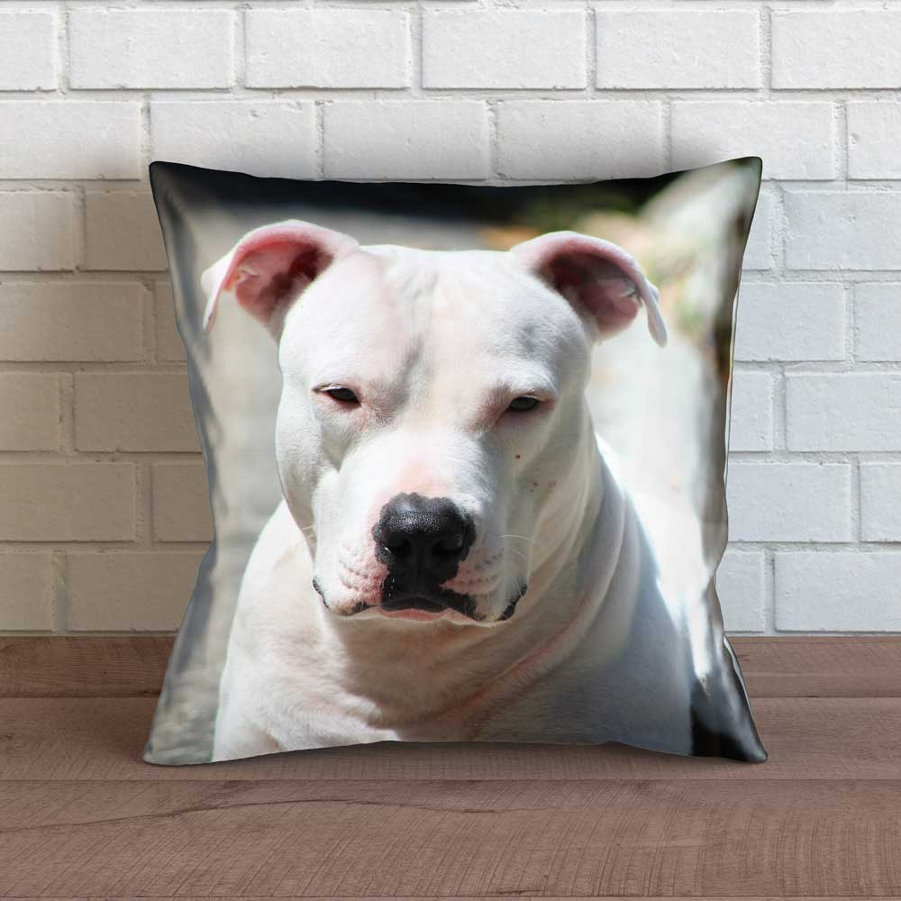 "Realistic Pit Bull Throw Pillow Cover - 18"" x 18"""