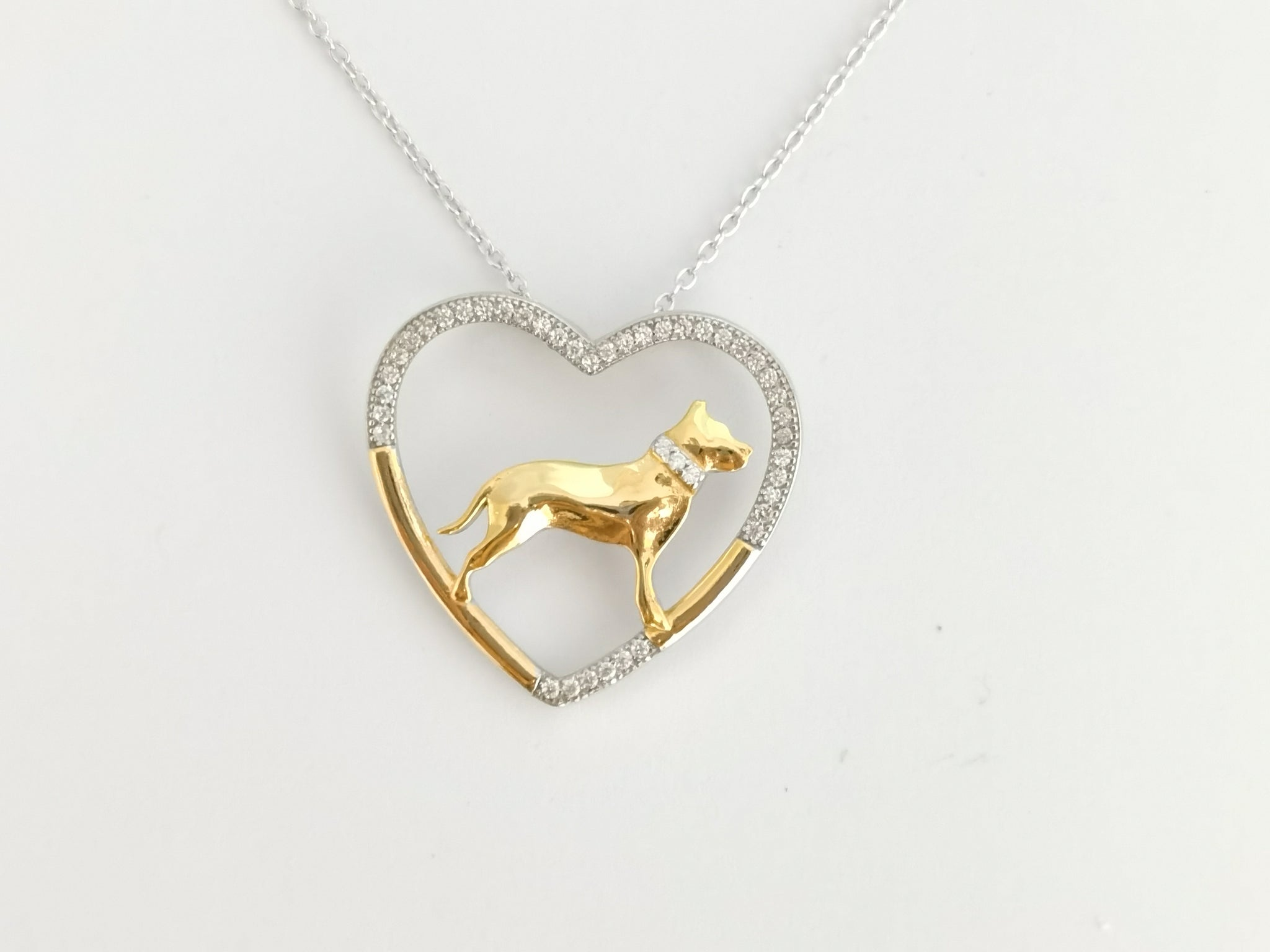 Pit Bull Dog 925 Silver Open Heart Necklace - D