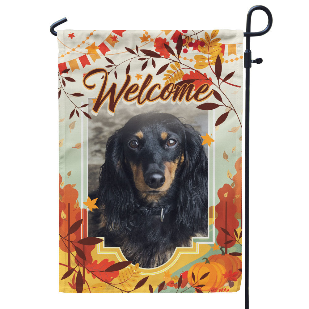 Personalized Fall Themed Pet Photo Flag