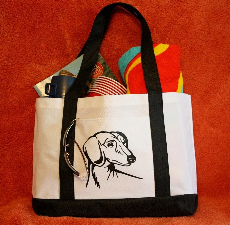 Dachshund Dog Design Large Boat Tote Bag