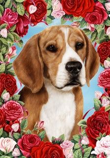Beagle Valentines Day Flag